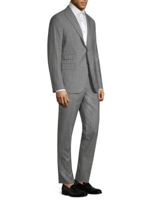 Eleventy Wool Pinstripe Suit Set In Light Grey