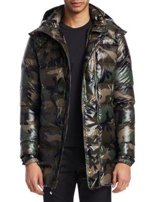 Valentino Camou Puffer Jacket In Green Camo