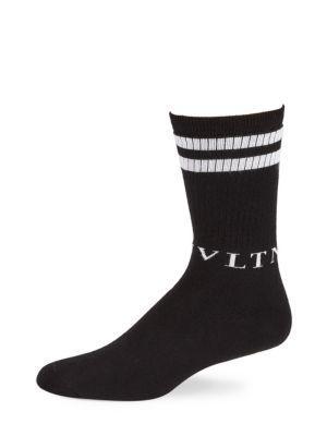 Valentino Logo Cotton Sport Socks In Black