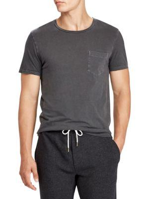 Ralph Lauren Garment Washed Pocket Tee In Anthracite