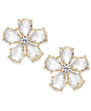 Kate Spade New York 14k Gold-plated Flower Crystal Stud Earrings In Clear
