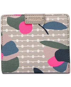 Fossil Emma Rfid Printed Bifold Mini Wallet In Floral Multi