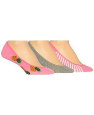 Hot Sox Women's 3-pk. Assorted Pineapple Liner Socks In Hot Pink
