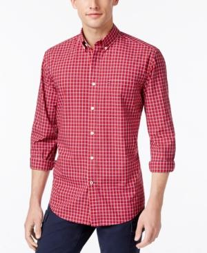Tommy Hilfiger Men's Mitchell Poplin Check Shirt, Created For Macy's In Chilli Pepper