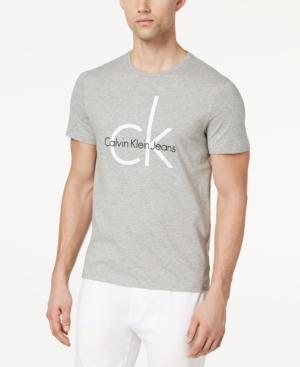 Calvin Klein Jeans Est.1978 Men's Classic Ck Logo-print T-shirt In Light Grey Heathered