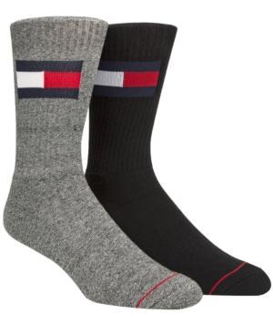 Tommy Hilfiger Men's 2-pk. Logo Crew Socks In Black / Grey