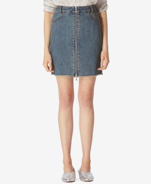 Avec Les Filles Denim Zip-Front Cotton Mini Skirt In Dirty Vintage Denim