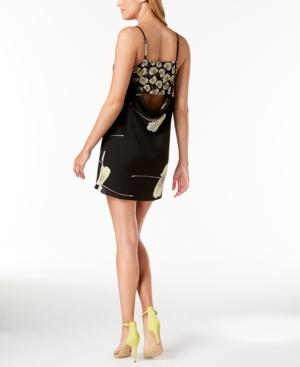1.state Printed Cowl-neck Slip Dress In Rich Black