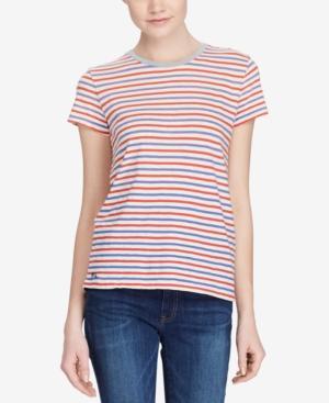 Polo Ralph Lauren Striped Cotton T-shirt In Pale Honey Multi