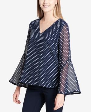 Calvin Klein Chiffon Polka-dot Bell-sleeve Top In Twilight/soft White Multi