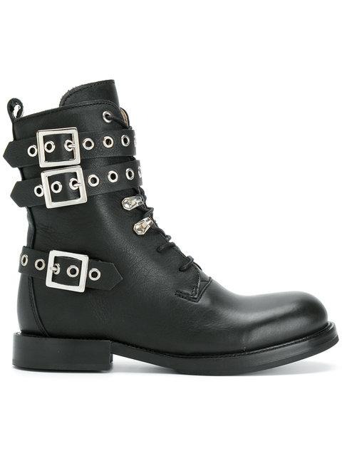Diesel Buckled Boots - Black