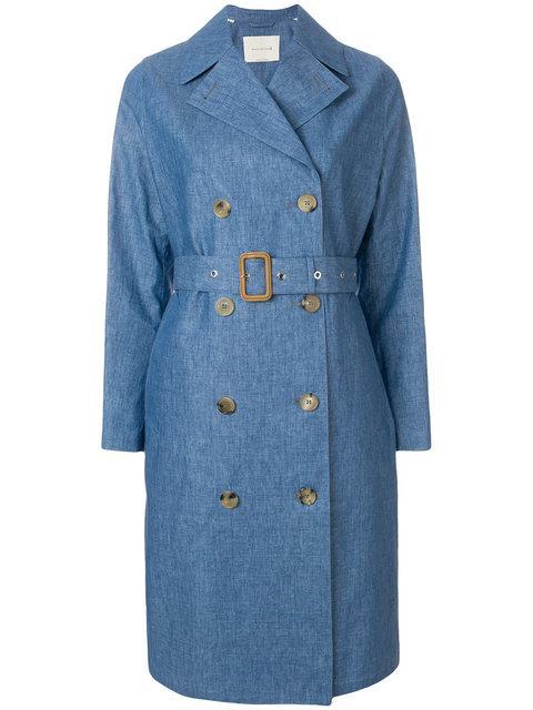 Mackintosh Belted Denim Trench Coat - Blue