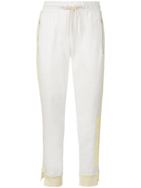 Walk Of Shame Cropped Logoed Track Pants In White