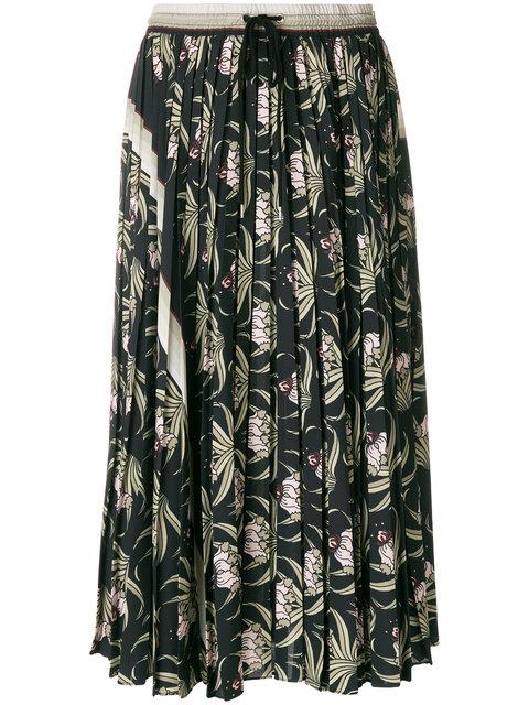 Markus Lupfer Desert Flower Pleated Skirt