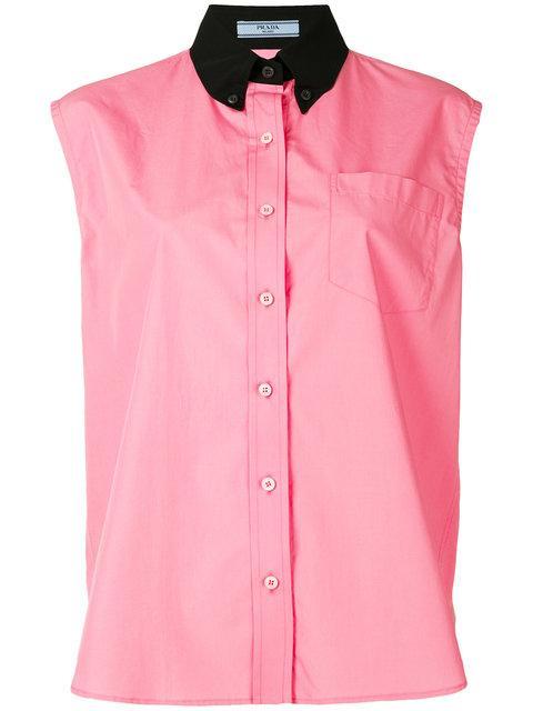 Prada Contrast Collar Sleeveless Shirt