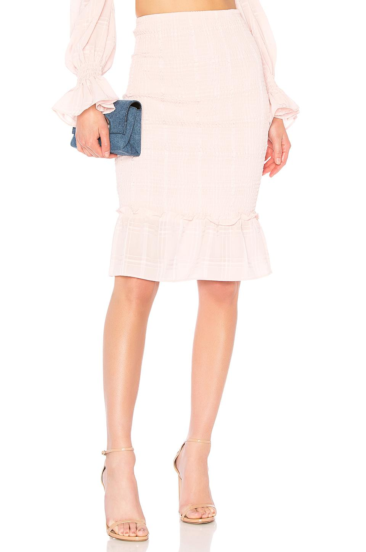 Lpa Smocked Midi Skirt In Blush