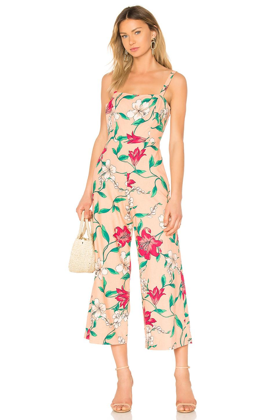 Privacy Please Hydrangea Jumpsuit In Peach