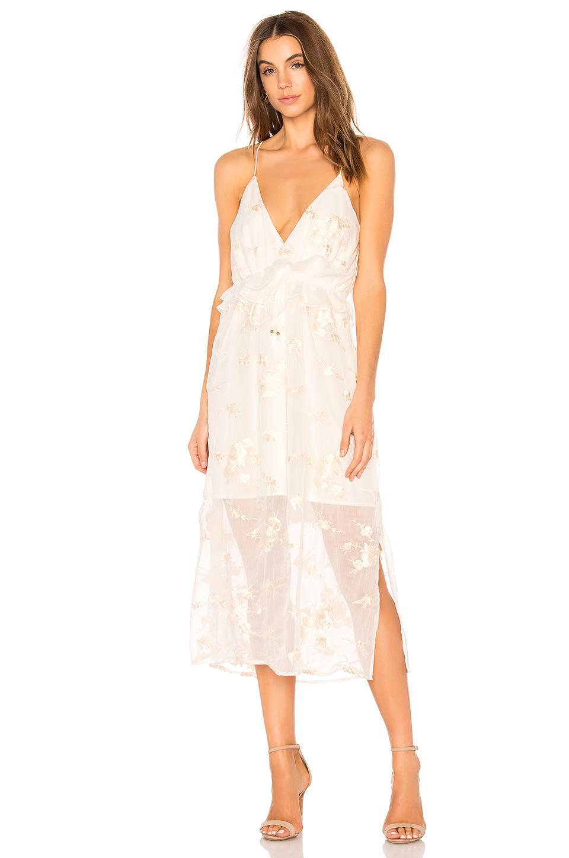 Elliatt Concert Embroidered Chiffon Dress In White