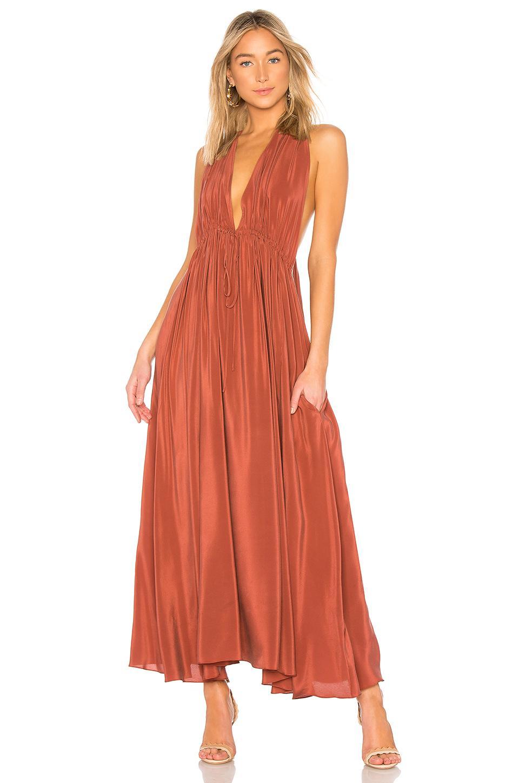 Three Graces Esilena Dress In Rust Sandwashed Silk
