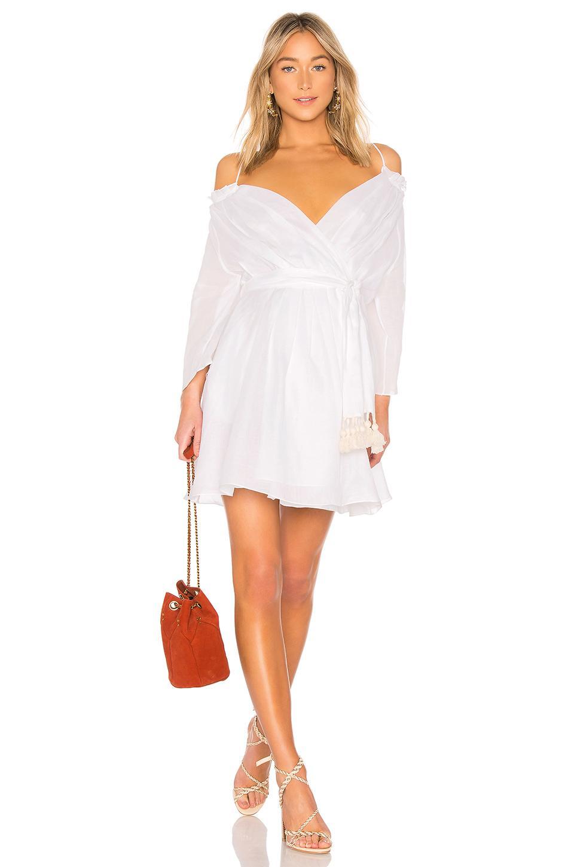Three Graces Tessa Tie- Over Mini Dress In White