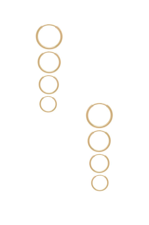 Erth Mini Hoop Set In Metallic Gold