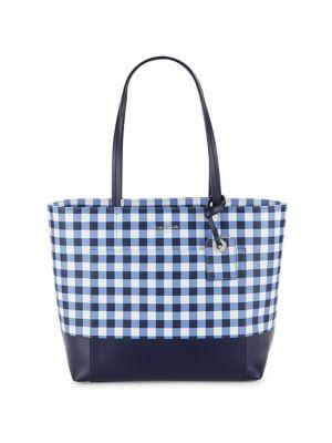 Kate Spade Gingham Leather Tote In Navy White