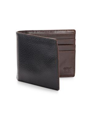 Will Leather Goods Pebbled Leather Billfold Wallet In Black - Brown