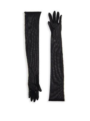 Dries Van Noten Faux Pearl-embellished Long Gloves In Black