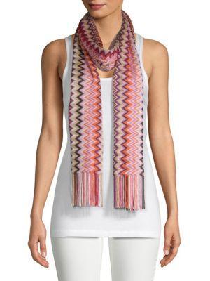 Missoni Chevron Knit Scarf In Pink