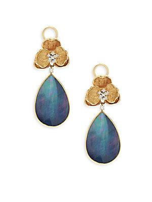 Michael Aram Diamond, Lapis And 18k Gold Orchid Drop Earrings In Blue