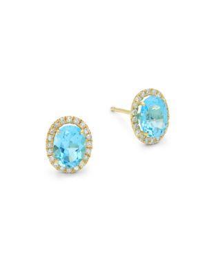 Meira T Blue Topaz, Diamond And 14k Yellow Gold Stud Earrings