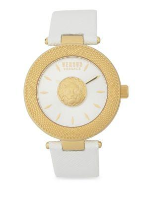 Versus Yellow Goldtone Stainless Steel Mini Lion Sculpture Leather Strap Watch