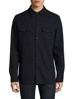 Rag & Bone Raw Edge Button-down Shirt In Navy Charcoal