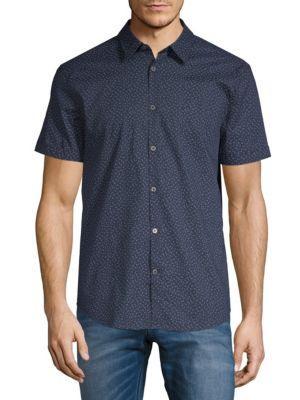 John Varvatos Short Sleeve Floral Shirt In Navy