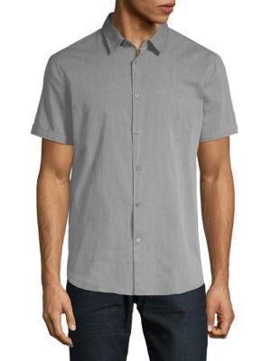 John Varvatos Short Sleeve Woven Shirt In Silver