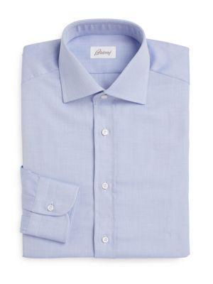 Brioni Regular-fit Woven Cotton Dress Shirt In Azure