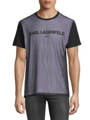 Karl Lagerfeld Short Sleeve Mesh T-shirt In Black