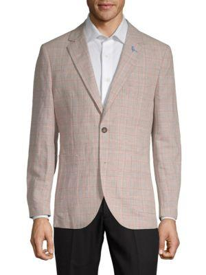 Tailorbyrd Luncke Range Plaid Lightweight Linen Cotton Jacket In Tan