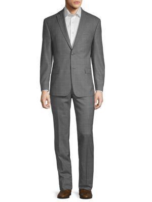 Michael Kors 2-Piece Check Wool Suit In Grey
