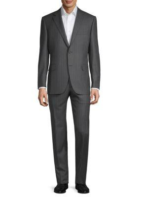 Canali Classic Stripe Wool Suit In Grey