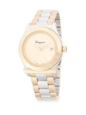 Salvatore Ferragamo Classic Stainless Steel Bracelet Watch In Gold