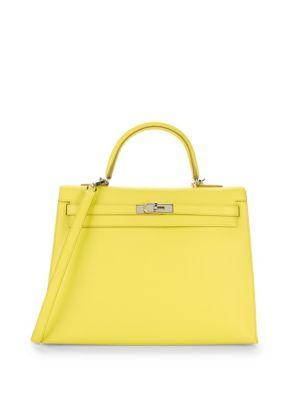 Herm S Vintage Soufre Epsom Kelly Bag In Yellow