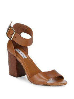 Steve Madden Estoriaa Leather Block Heels In Cognac