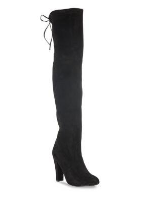 Steve Madden Rear Tie-up Over-the-knee Boots In Black