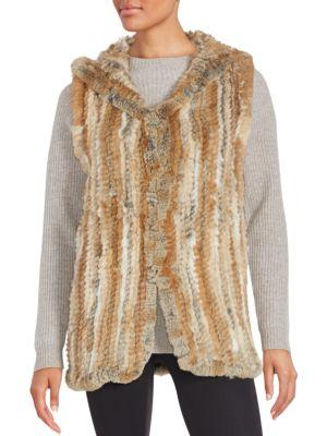 Saks Fifth Avenue Rabbit Fur Hooded Vest In Natural