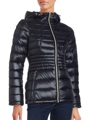 Calvin Klein Packable Hooded Down Coat In Black