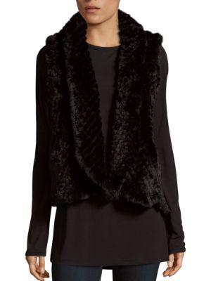 Love Token Alicia Faux Fur Vest In Black