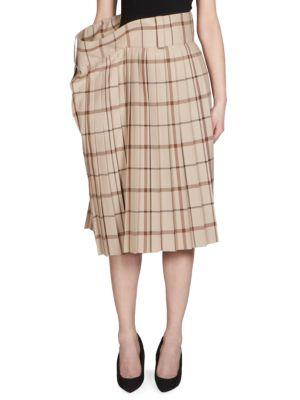 Balenciaga Pleated Plaid A-line Skirt In Beige