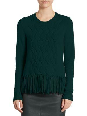 Akris Punto Fringed-knit Pullover In Vicuna
