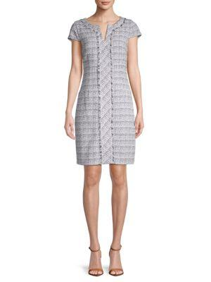 Karl Lagerfeld Fringed Tweed Shift Dress In Multi